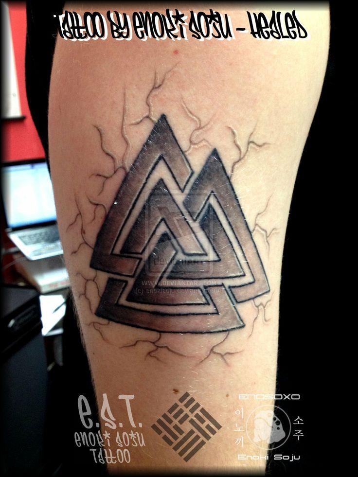 34 best valknut images on pinterest runes tattoo ideas for Triple triangle tattoo