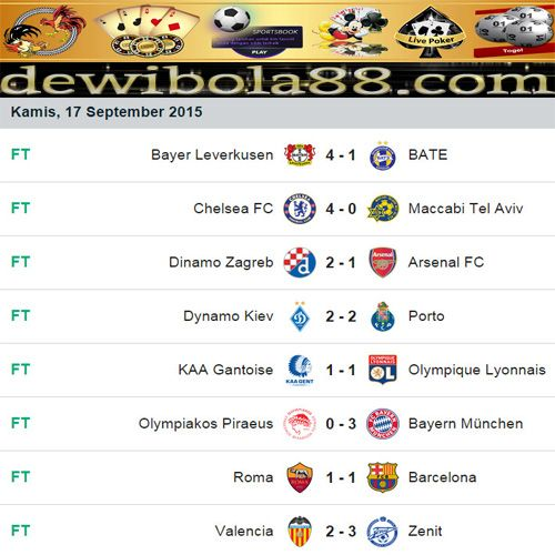 Dewibola88.com | Hasil Pertandingan UEFA Champions LeagueGmail        :  ag.dewibet@gmail.com YM           :  ag.dewibet@yahoo.com Line         :  dewibola88 BB           :  2B261360 Path         :  dewibola88 Wechat       :  dewi_bet Instagram    :  dewibola88 Pinterest    :  dewibola88 Twitter      :  dewibola88 WhatsApp     :  dewibola88 Google+      :  DEWIBET BBM Channel  :  C002DE376 Flickr       :  felicia.lim Tumblr       :  felicia.lim Facebook     :  dewibola88