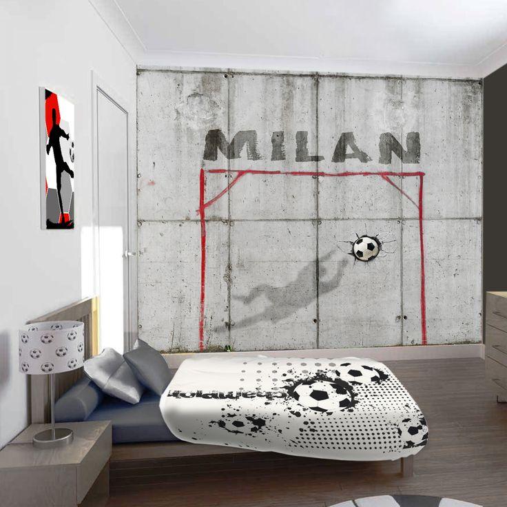 Stoer voetbal behang met beton look. Met de eigen naam op het behang scoor je altijd in de voetbalkamer!