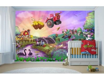 """Funny Farm"". A wall mural from Muralunique.com. This is an original painting from Birgit Schulz. https://www.muralunique.com/funny-farm-12-x-8-3-66m-x-2-44m.html"