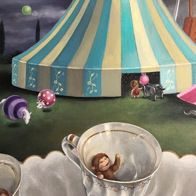 A couple of brave buddies are entering the mysterious tent 🎪 while bouncy friends are grazing peacefully outside.. #wip #carnival #tinymonkey #teacupride #daydreaming #painting #artoftheday #acryliconcanvas #instaart #nzart #popsurrealism #surrealism #mylittlefriends #beautifulbizarre