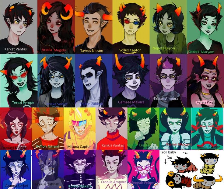 homestuck dancestors names | Beta and alpha trolls with names -Homestuck by Medonii