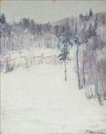 Talvimaisema. oil on panel  Pekka Halonen
