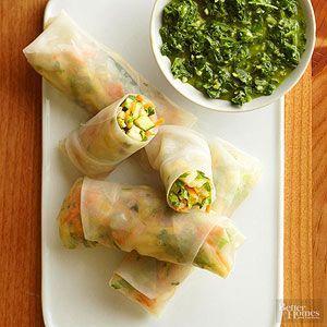Veggie Spring Rolls with Chimichurri Sauce