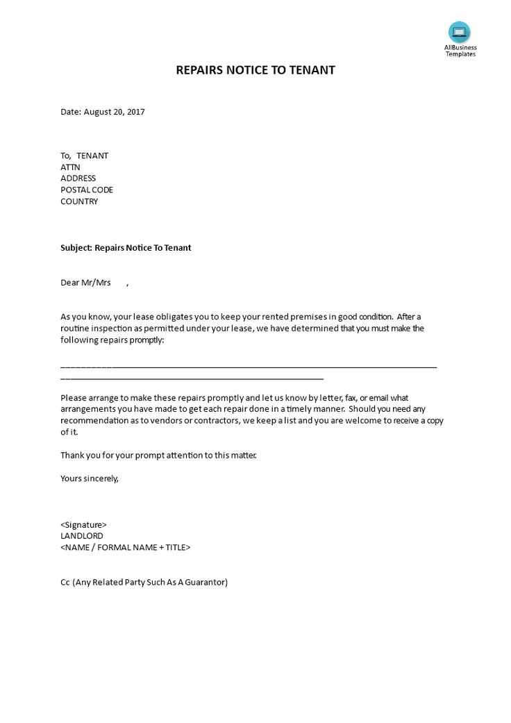 Repair Notice to Tenant - How to write a Repairs notice to Tenant - tenant recommendation letter