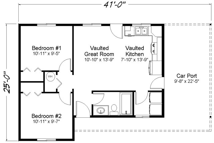 680 sq ft skyridge 1 story cabin floor plan custom for House plans wa