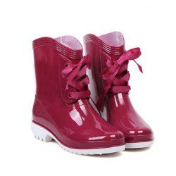Stylsih Women's Rain Boots With Solid Color and Lace-Up Design