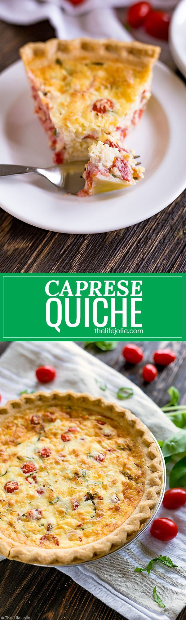 Caprese Quiche is an easy breakfast or brunch recipe. This is simple, feel-good food at it's finest with mouthwatering tomatoes, mozzarella and basil. It's great to make ahead or eat right away and perfect to whip up for Easter, Mother's Day or Christmas