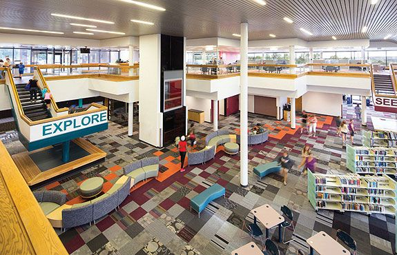 Library 21c: soaring atrium, repurposed 100,000 square feet of previously vacant space