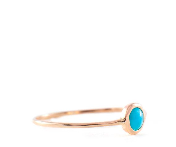 Turquoise Ring Cabochon Turquoise Stacking ring 14K by Tulajewelry, $160.00