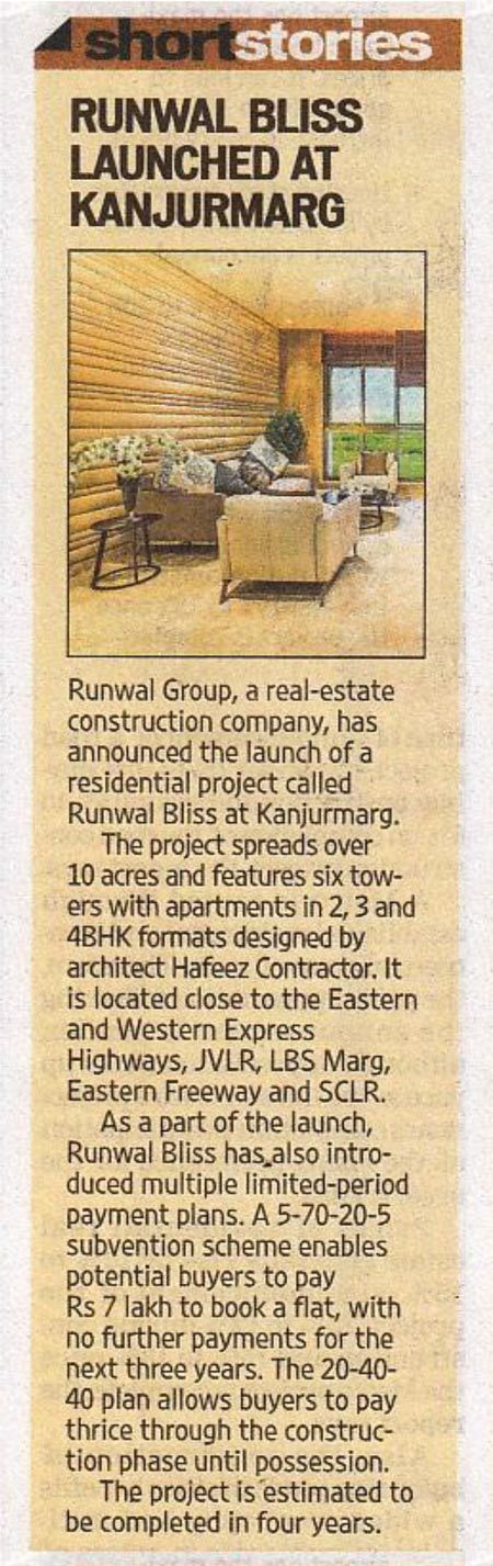 Runwal Group launches Runwal Bliss- A promising 10 acre residential project in Kanjurmarg