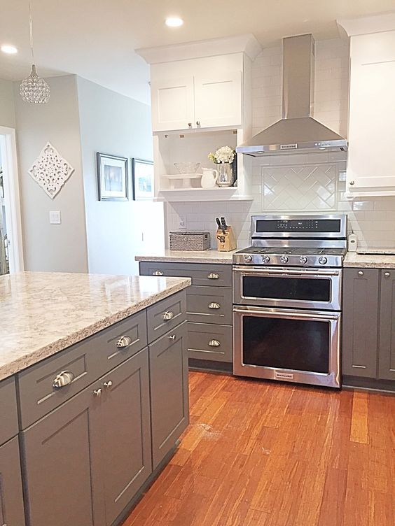two tone kitchen cabinets ideas, with modern door design and painted with combining color like in this images picture (recomended picture) -- Want to know more? Click the pin #DIYHomeDecor