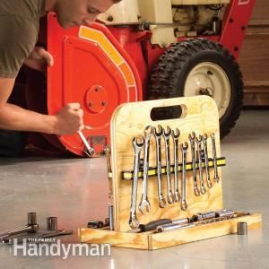 Wrench Storage Project: This simple tool storage tote is perfect for organizing all your metric and SAE sockets and wrenches. You can make it in minutes with plywood and two magnetic bars.
