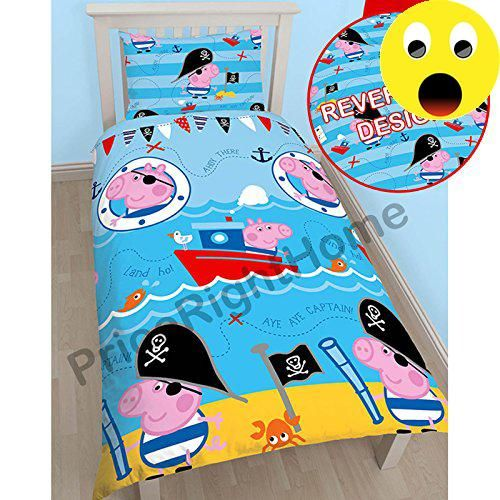#manythings  #Peppa Pig George Pirate Single Duvet Cover and Pillowcase Set + FREE Pack Stickers 100% official merchandise Reversible - 2 designs in 1 Duvet cove...