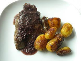 """Marchand de vin sauce: The rich """"marchand de vin"""" sauce, made with red wine and shallot, is a classic accompaniment for meats that is traditionally made in the roasting tin or dish.This is a simplified version that can be made while the meat is cooking, even beforehand, so there is no risk of it going cold."""