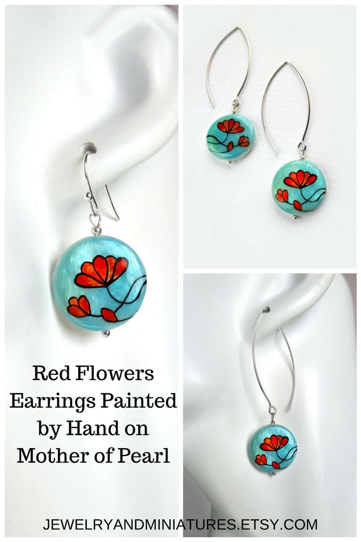 Red Flowers Earrings painted by hand on mother of pearl, Silver Dangle Earrings with Red Flowers #redflowerearrings #floralearrings #bluedangleearrings