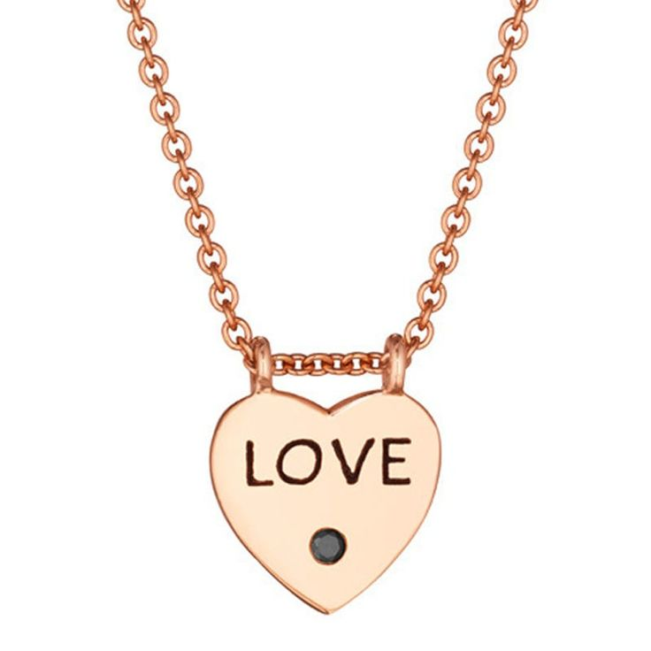 14K Rose Gold Love Heart Diamond Pendant