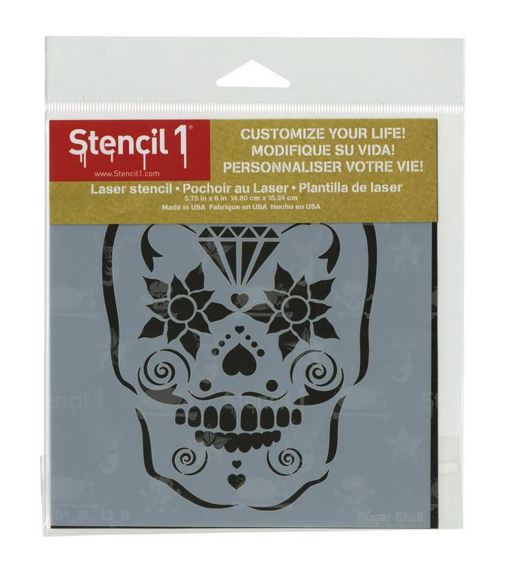 Stencil 1 Sugar Skull Stencil 5.75''x6''