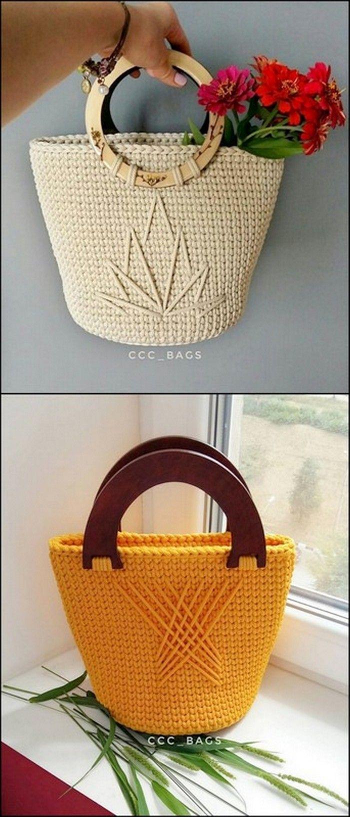 Stiffed And Wooden Handle Basket Free Crochet Pattern Diy Bags Patterns Crochet Purse Pattern Free Crochet Purse Patterns