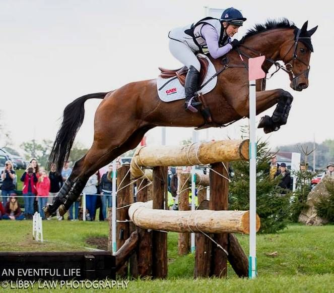 Gemma Tattersall (GBR) at the dreaded 'Vicarage Vee' fence, Badminton 2016