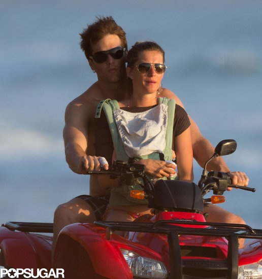 Tom Brady and Gisele Bündchen took Vivian on a beach ride while in Costa Rica. See their family vacation photos!