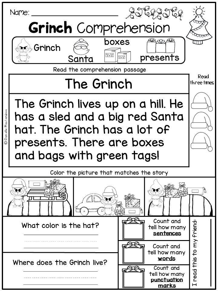 GRINCH Day FREEBIE Christmas reading comprehension