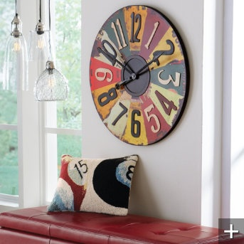License Plates Clock and game pillows for basement game area