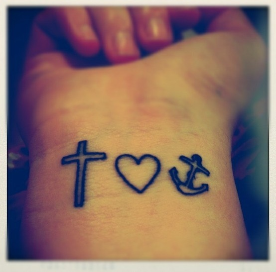 Cross, heart, and anchor outline wrist tattoo @Kristin :: Teal White Garden vandy I thought of you when I saw this!