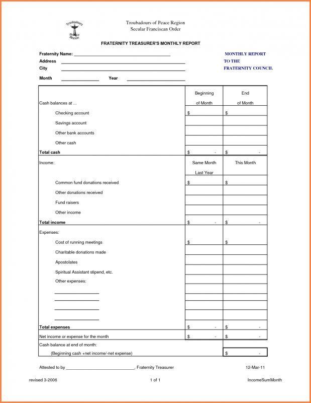Treasurer Report Template Report Template Excel Templates