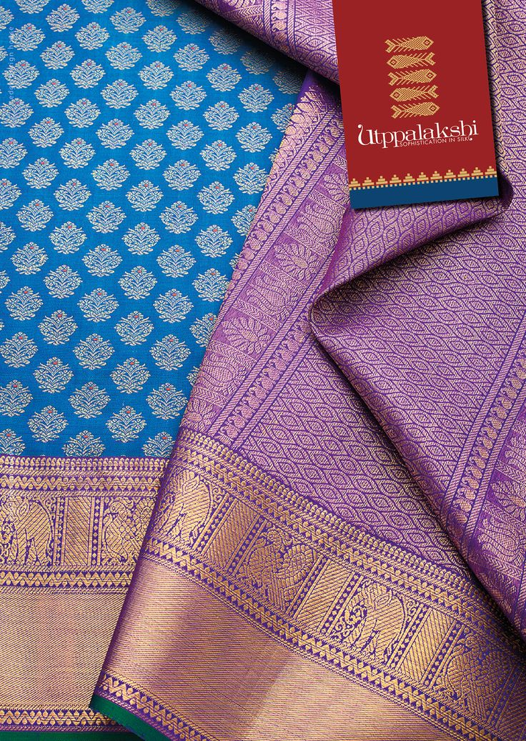 Fresh flower motifs on the rich blue saree. Exquisite zari work of elephant and anapakshi on violet on the pallu and border. Time for a stroll.#Utppalakshi #Sareeoftheday#Silksaree#Kancheevaramsilksaree#Kanchipuramsilks #Ethinc#Indian #traditional #dress#wedding #silk #saree#craftsmanship #weaving#Chennai #boutique #vibrant#exquisit #pure #weddingsaree#sareedesign #colorful #elite