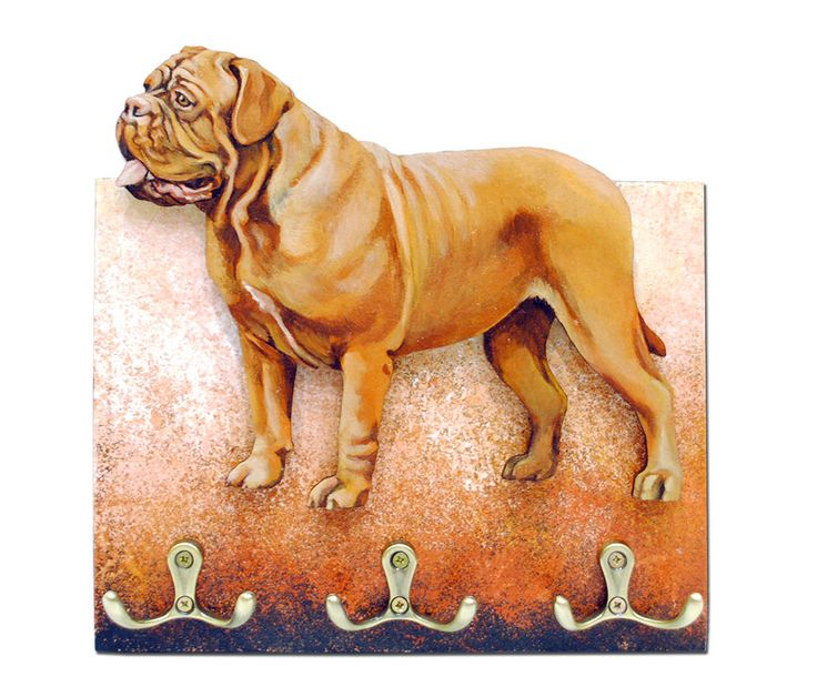 Dogue de Bordeaux dog Hanger / holder leashes, ANY COLOR figurine, rack key of wood, handmade, acrylic paint by RussianArtDogs on Etsy