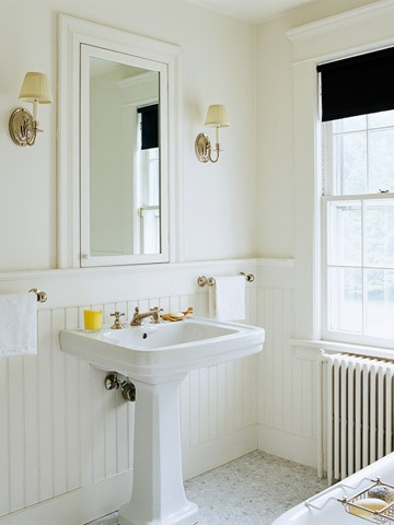 White Beaded Board  Add dimension to an all-white bath with beaded board. In the same color as the walls, beaded board adds texture and traditional styling.