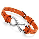 #10: Flongo 2連 レザーブレスレット メンズバングル レディース腕輪 数字「8」 ラッキー 簡約 ファション 腕飾り 幅/0.15cm オレンジ色