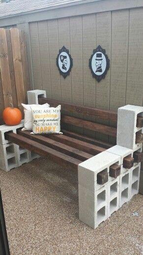 Completed Cinder Block Bench