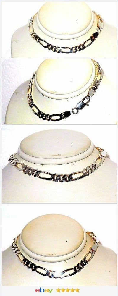 50% OFF #EBAY http://stores.ebay.com/JEWELRY-AND-GIFTS-BY-ALICE-AND-ANN  Men's Gents Bracelet Figaro Link Sterling Silver 8 inches USA Seller