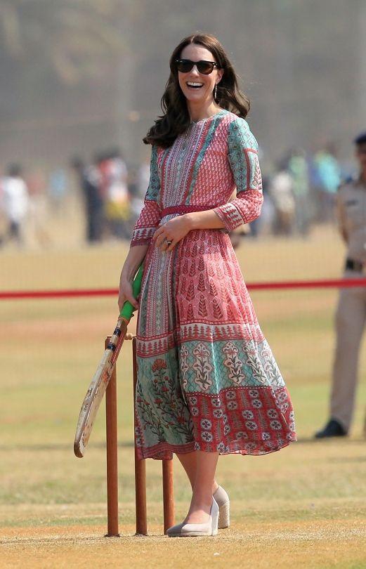Kate Middleton, Duchess of Cambridge in Mumbai- dress Anita Dongre with Monsoon Fleur shoes espadrille wedges.