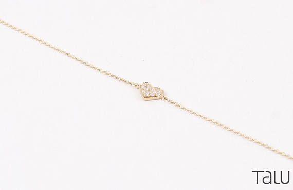 Heart Bracelet, 14k Solid Gold, Diamond Bracelet, Valentine's Bracelet, Romantic Gift, Chain Bracelet, Gift For Her, Heart Jewelry