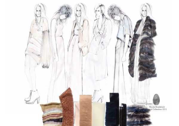 Fashion Sketchbook - final collection drawings & fabric samples