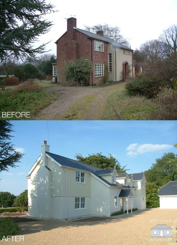 This home has been completely transformed with a New England renovation by Back to Front Exterior Design