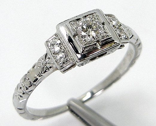Claudia: White Gold and Diamond Art Deco Engagement Ring for sale