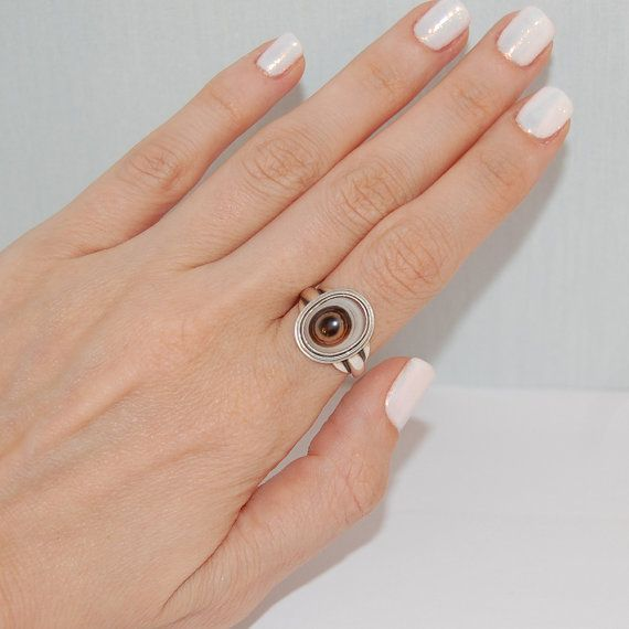 Agate sterling silver ring Statement jewelry Eye ring by kreitto