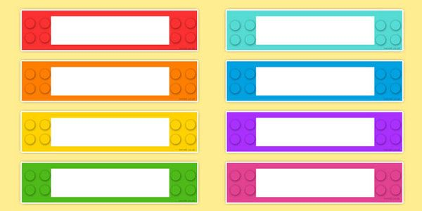 Building Brick Themed Drawer Peg Name Labels