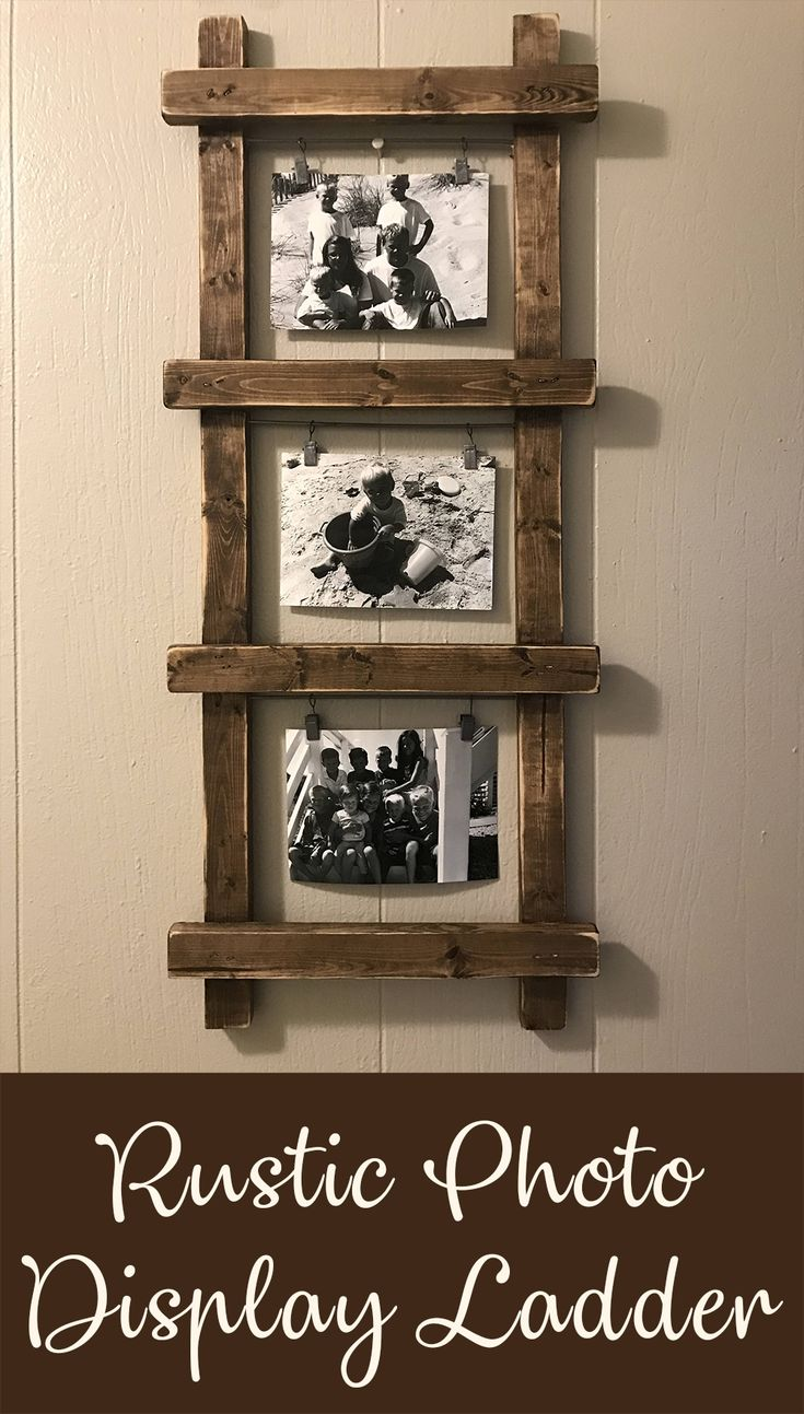 This rustic ladder photo holder is definitely a fun and unique piece to add to my home decor! Such a simple way to fill home with farmhouse charm, even if I don't actually live in one, lol! Also, would look amazing in woodland and rustic gender neutral nursery. #rustic #farmhouse #woodland #homedecor #diy #etsy #ad