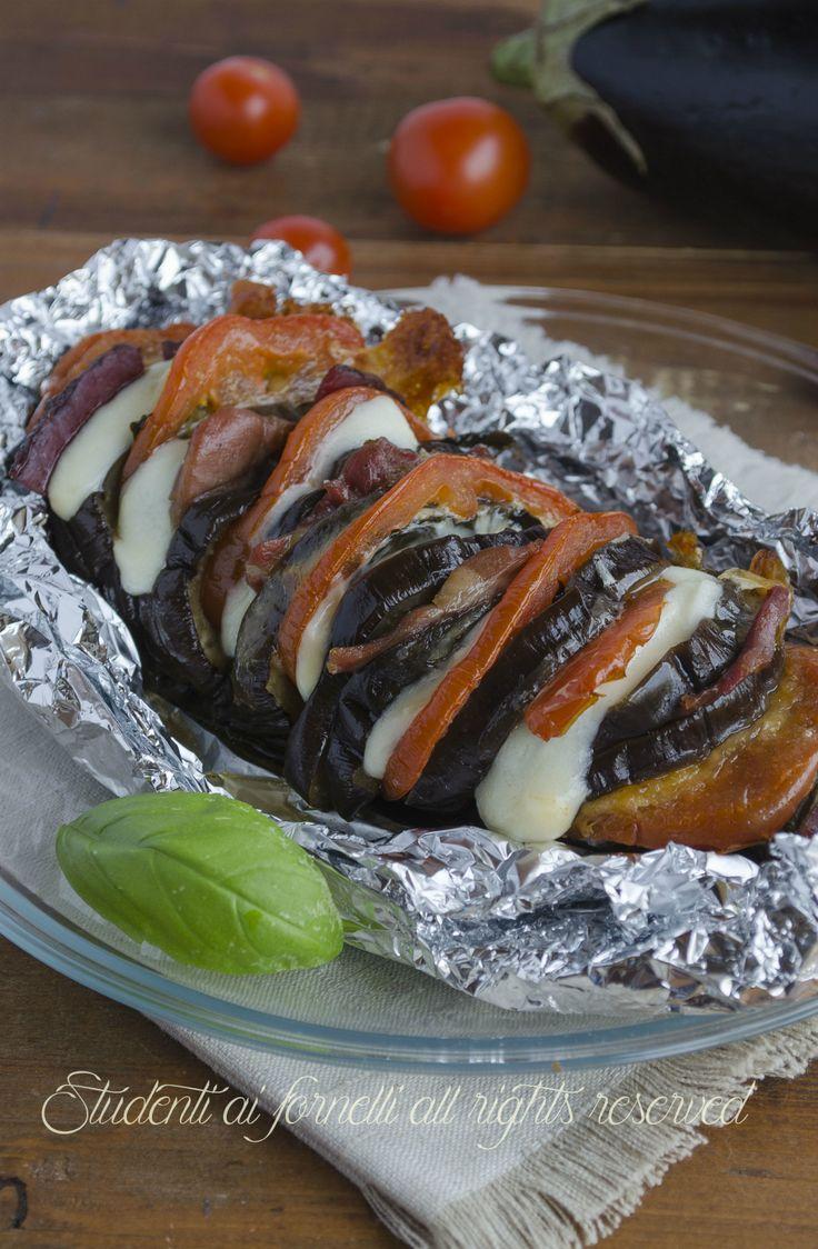 melanzane a fisarmonica con prosciutto pomodoro e scamorza ricetta secondo gustoso e facile veloce