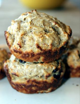 peanut butter and banana oatmeal muffins. made with greek yogurt!