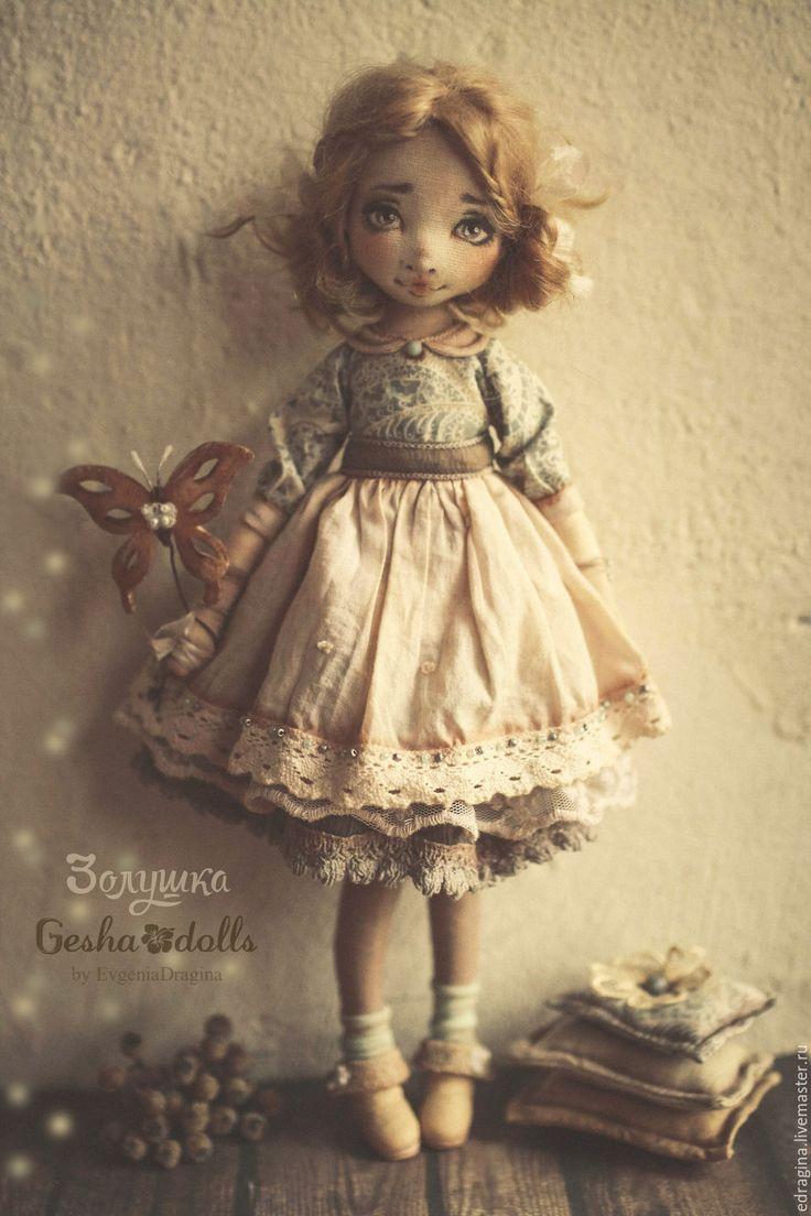 Купить Золушка - бежевый, золушка, сказка, мятный, детство, кукла ручной работы, текстильная кукла