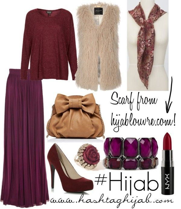 Hate the faux fur vest, would have to switch either the violet or the maroon for a more neutral color, like the clutch's beige. But overall, I like