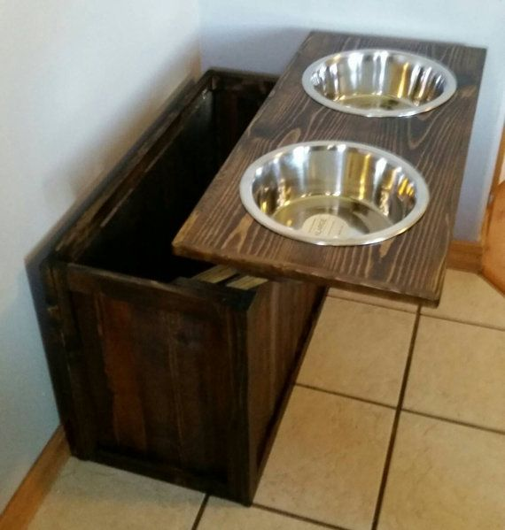 Raised dog feeder with storage, Great Dane dog feeder, XL dog feeder, Rustic dog…