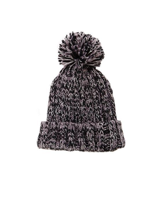 Multi Knit Pompom Beanie