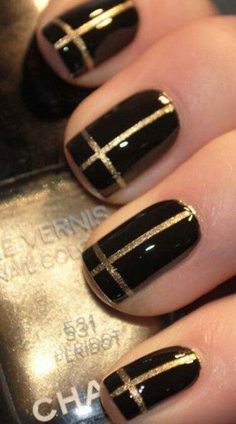 Chanel Black/Gold Manicure
